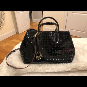 Arcadia black top handle bag with crossbody strap